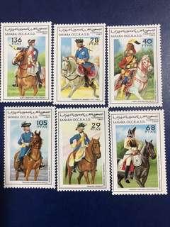 1997 非洲撒哈拉郵票 騎兵服飾和戰馬 6全