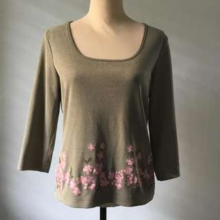 Preloved Beige Long Sleeved Blouse with Pink Flowers