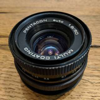 Pentacon 50mm Auto f/1.8 Lens M42 screw mount (with Canon EF adaptor)