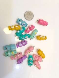Care bear cupcake topper, diy necklace, pendant bracelet, doll accessories