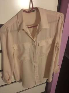 Light peach button up shirt