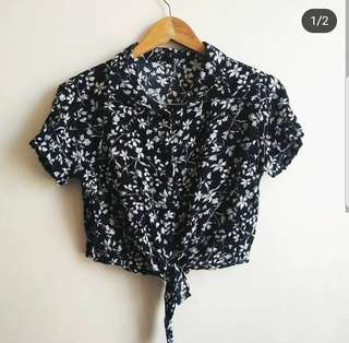 Floral Knot-tie top