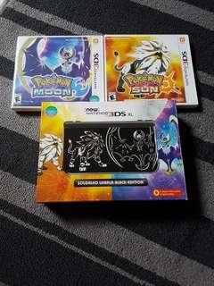 New nintendo 3ds XL Solgaleo lunala black edition with games
