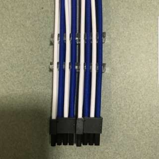 Blue/White PCIE Sleeved extension cable