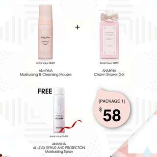 🎀Anmyna April Promotion🎀安米娜 Charm Shower Gel + Cleansing Mousse + FREE Moisture Spray