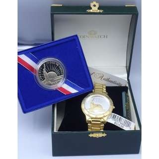 Coinwatch Swiss Watch ~ gold tone- US Liberty 1986 Coin 石英錶 w/Box + 1986 US Liberty Coin w/Box
