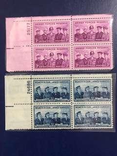 美國早期方連郵票 一套 軍隊 航空