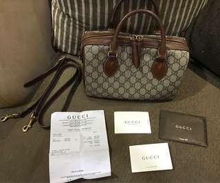 Gucci brown linea A boston monogrammed