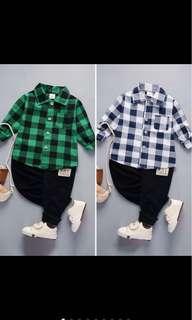 Kid boy infant toddler baby boy shirt collar pants set