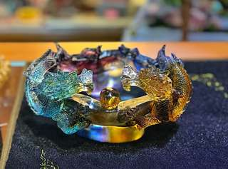 Double dragon treasure bowl 18X 13X10双龙聚宝盆