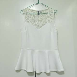 H&M Lace Peplum Top