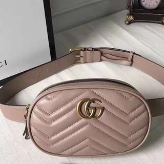 👍🏻BEST SELLING Gucci Chevron Leather Marmont Matelasse Belt Bag