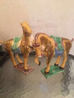 Vintage Porcelain Horse and Falcon Set