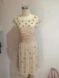 Hoss intropia silk dress with floral beads