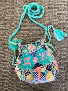 Star Mela satchel style bag-neon pink/green/purple
