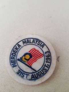 Vintage 31st august 1963 plastic pin badge merdeka malaysia