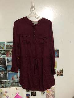 FOREVER21 Burgundy Shirt Dress
