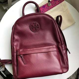 Tory Burch full leather backpack - maroon