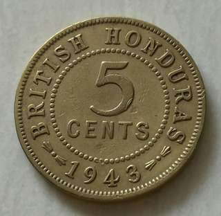 British Honduras 1943 5 Cents With Nice Details
