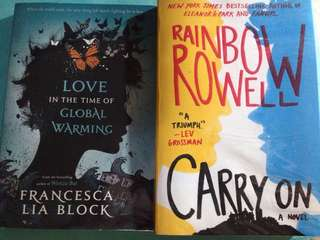 YA Books (Carry On and Love in the time of global warming)