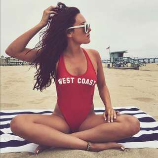 west coast red one piece bathing suit