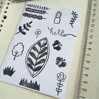 Stamped sticker paper