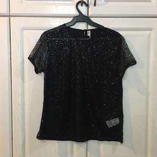 FX Co. Limited Edition Sheer Front Sequined Blouse