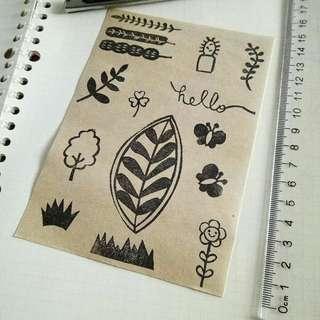 Stamped sticker paper - brown