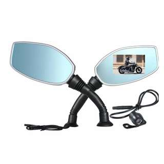 Motorcycle Rearview Mirror Dual Camera Moto Dash Cam Video Camcorder 2.4