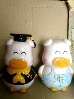 中古 198x 年 可愛小豬 豬豬 畢業 錢甖 錢箱 一對 台灣製造