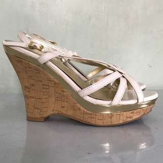 White patent strap wedge
