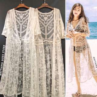 Lace Mesh Embroidered Chiffon Maxi Kimono