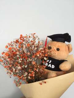 Graduation Bouquet~ Dried coloured baby breath