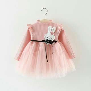 *FREE DELIVERY to WM only / Pre order 15-18 days* Kids long sleeves knitted tulle dress each as shown design/color. Free delivery is applied for this item.