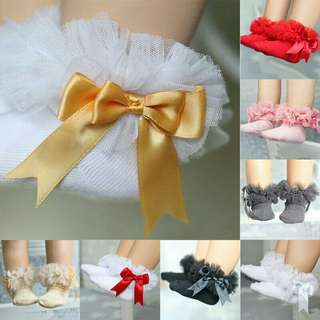 *FREE DELIVERY to WM only / Pre order 15-18 days* Kids bow knot lace cotton socks each pr as shown design/color. Free delivery is applied for this item.
