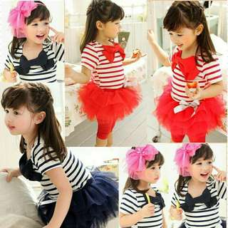 *FREE DELIVERY to WM only / Pre order 15-18 days* Kids striped t shirt top + tulle skirt pants each as shown design/color. Free delivery is applied for this item.