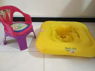 Baby swim support and chair