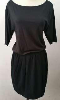 Uniqlo black shirt dress 2in1