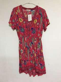 歐美 波希米亞 圖騰印花 腰鬆緊 短袖連身短裙 全新 L號 含運 boho print skirt