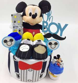 Mickey Mouse Baby Diapers Cake- Ready Stock