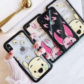 winnie the pooh and piglet tempered glass phone casing
