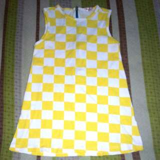 Dress Kuning Putih Kotak Kotak