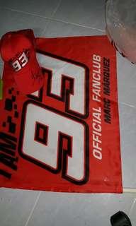 Marc Marquez cap and flag