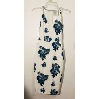 H&M white floral dress pencil cut skirt