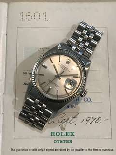 Vintage Rolex Datejust 1601 with Paper