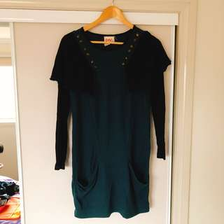 Dark green one piece dress