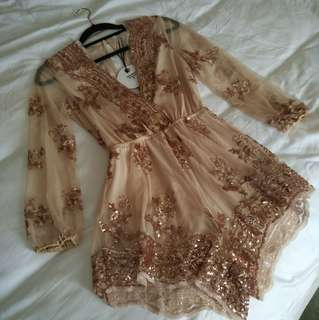 Rose Gold Sequin Playsuit size 8