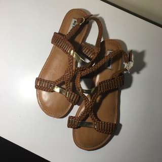 Tan and gold braided strappy sandals