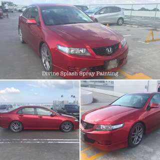 Candy red spray painting Honda Accord