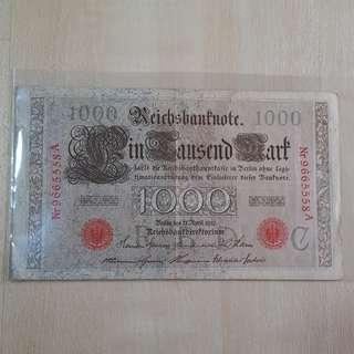 1910 German Empire 1000 Reichsmarks Banknote